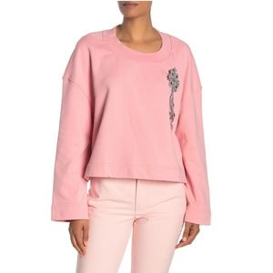 BURBERRY Rhinestone Pin Solid Sweatshirt